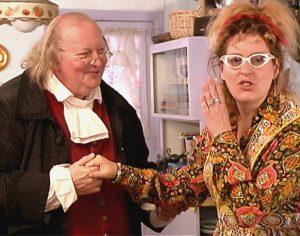 Ben Franklin charms Elizabeth Fiend in her own kitchen!
