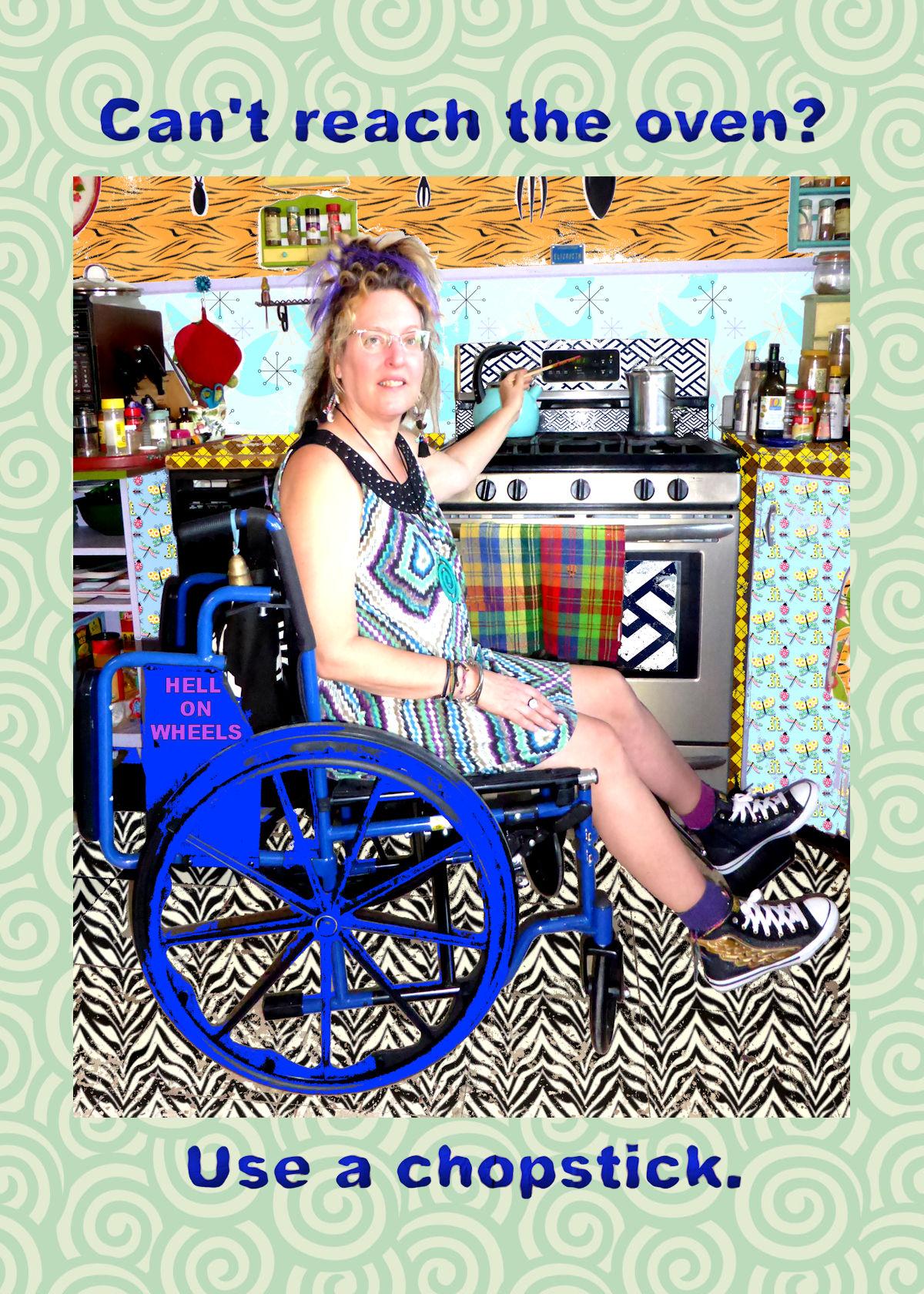 Elizabeth Fiend wheelchair tip chopstick